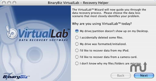 Screenshot 1 for VirtualLab Data Recovery