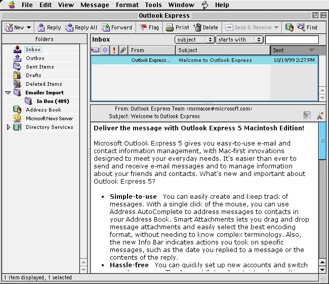 Screenshot 1 for Outlook Express