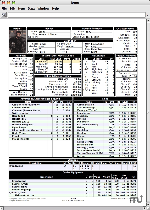 Screenshot 1 for GURPS Character Sheet