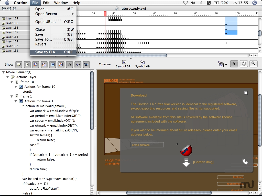 Screenshot 1 for Gordon Flash Decompiler