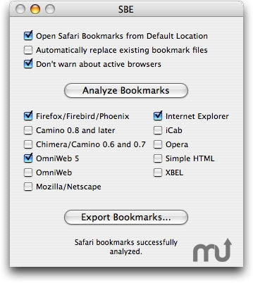 Screenshot 1 for Safari Bookmark Exporter