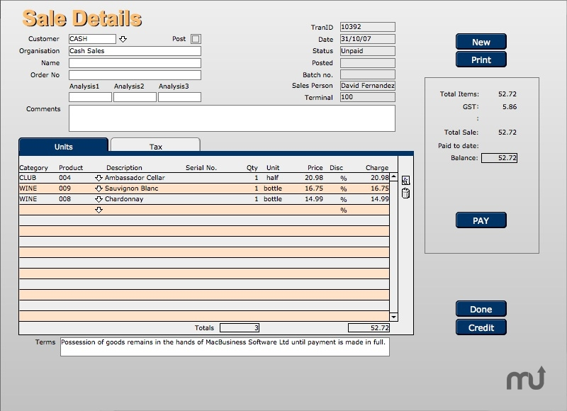 Screenshot 1 for MacBusiness POS