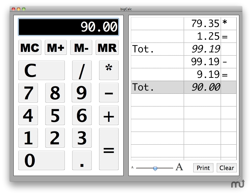 Screenshot 1 for bigCalc