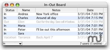 Screenshot 1 for In-Out Board