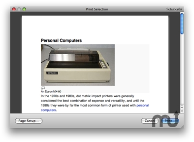 Screenshot 1 for Print Selection Service