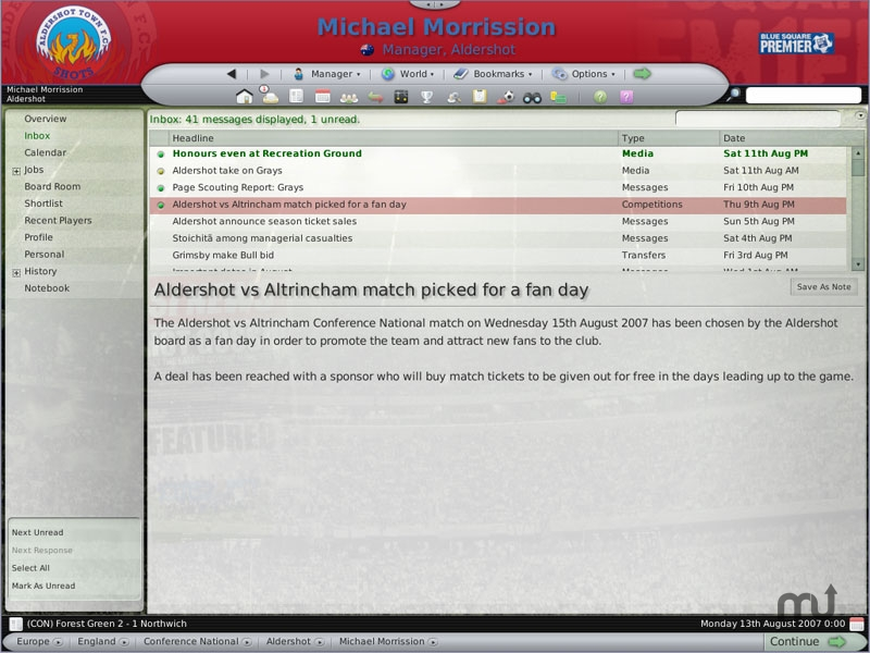 Screenshot 1 for Football Manager 2008
