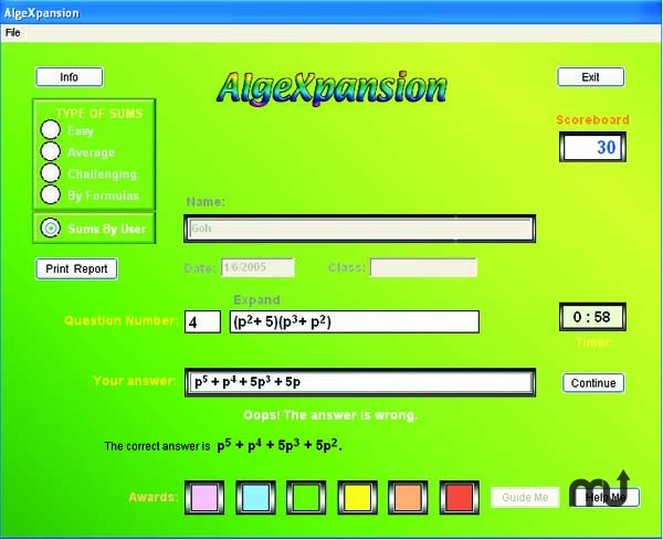 Screenshot 1 for AlgeXpansion