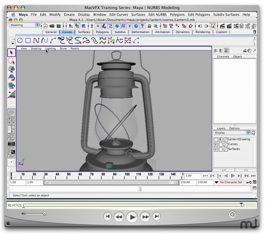 Screenshot 1 for MacVFX Training Series: Maya | NURBS Modeling