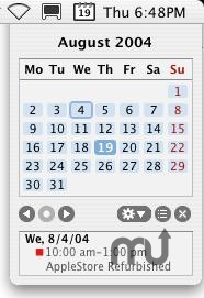 Screenshot 1 for MenuCalendarClock for Entourage