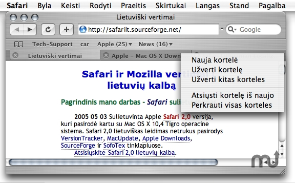 Screenshot 1 for Safari Lithuanian Localization