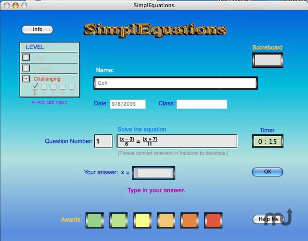 Screenshot 1 for SimplEquations