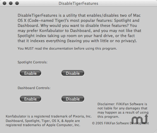 Screenshot 1 for DisableTigerFeatures