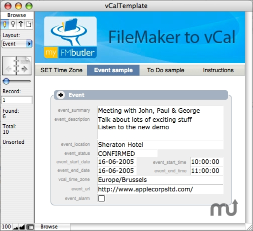 Screenshot 1 for myFMbutler FileMaker to vCal XSLT