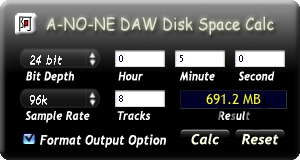 Screenshot 1 for DAW Disk Space Calc