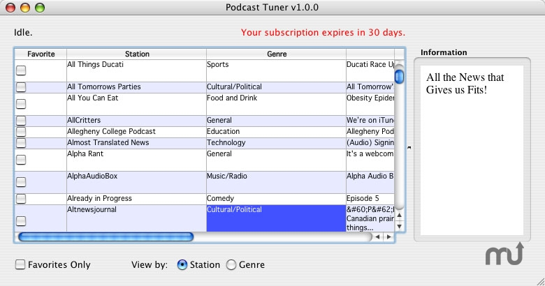 Screenshot 1 for Podcast Tuner