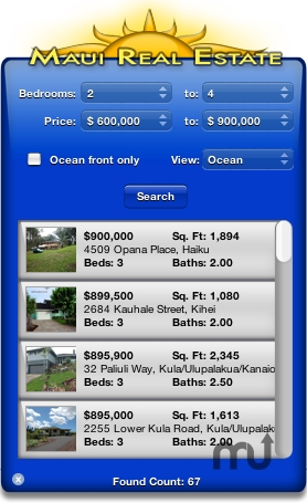 Screenshot 1 for Maui Real Estate Widget