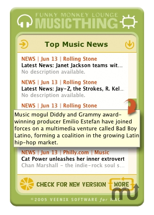 Screenshot 1 for Funky Monkey Lounge Music Thing Widget