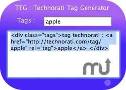 Screenshot 1 for Technorati Tag Generator