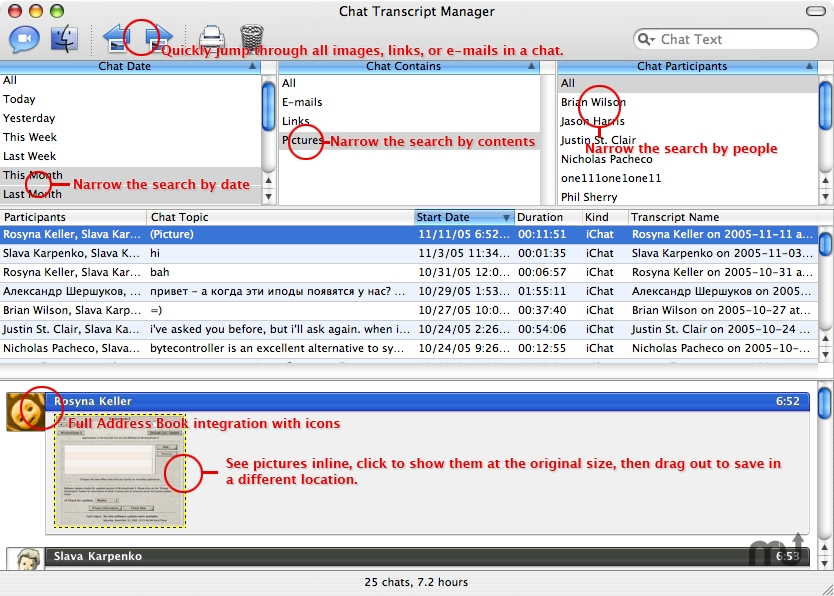 Screenshot 1 for Chat Transcript Manager