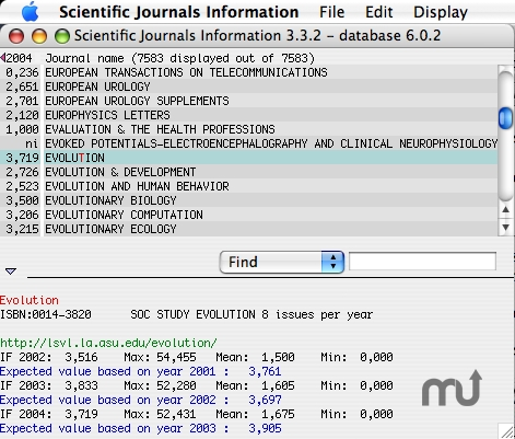 Screenshot 1 for Scientific Journals Information