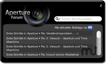 Screenshot 1 for Apertureforum Widget