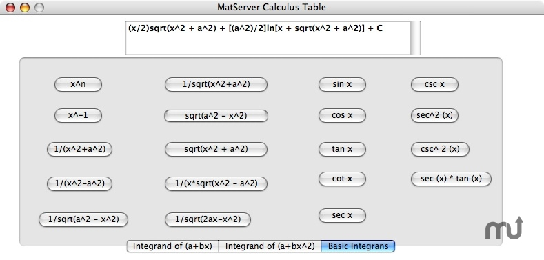 Screenshot 1 for MatServer Calculus Table