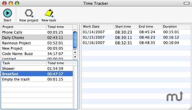 Screenshot 1 for Time Tracker