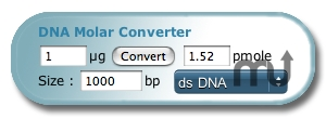 Screenshot 1 for DNA Molar Converter Widget