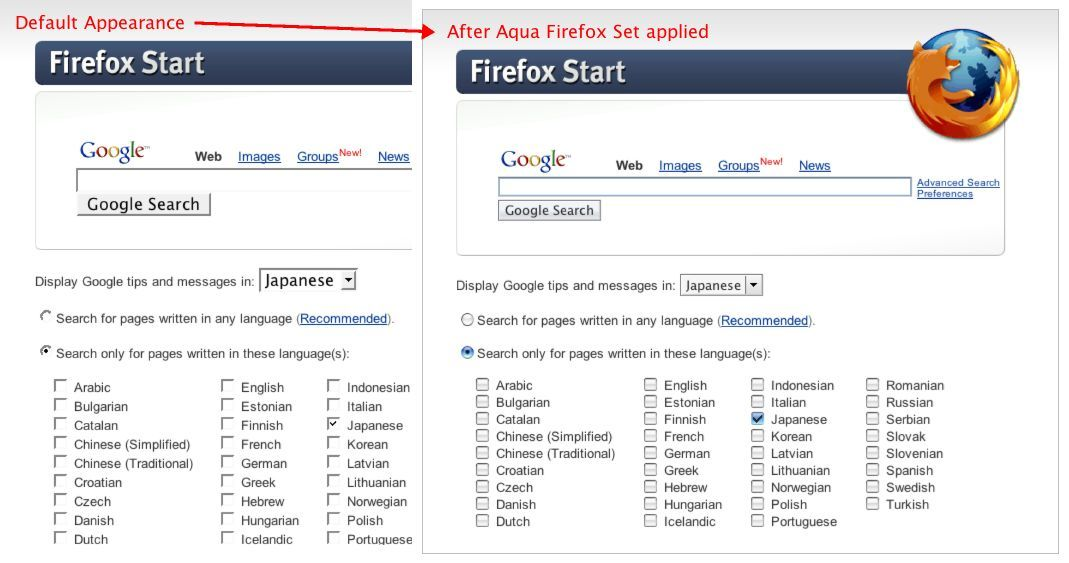 Screenshot 1 for Aqua Firefox Set