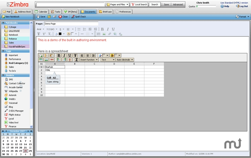 Screenshot 1 for Zimbra Collaboration Suite