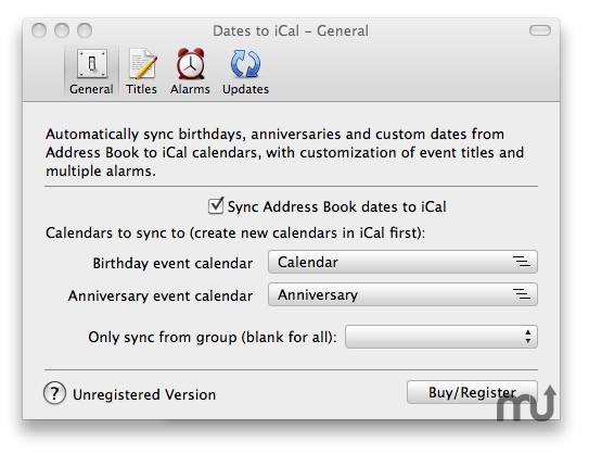 Screenshot 1 for Dates to iCal