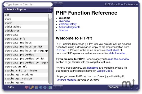 Screenshot 1 for PHP Function Reference