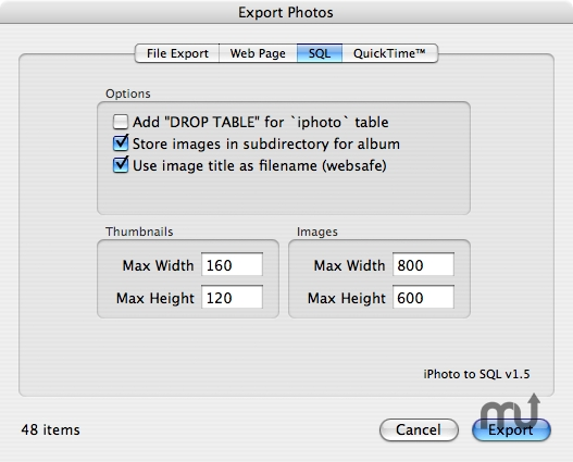 Screenshot 1 for iPhoto To SQL