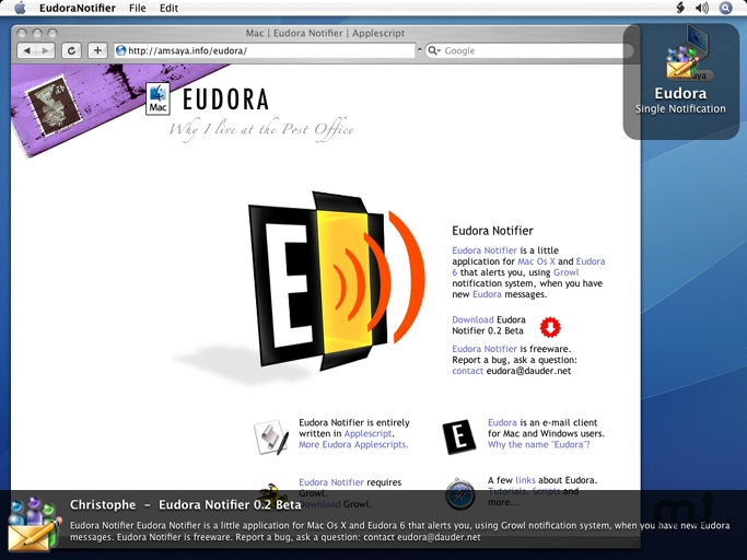 Screenshot 1 for Eudora Notifier