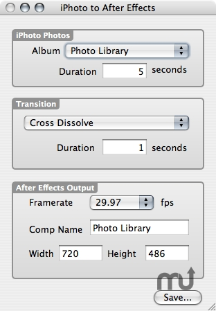 Screenshot 1 for iPhoto to After Effects Slideshow