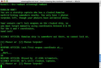 Screenshot 1 for Romulan Hunt (Command Line)