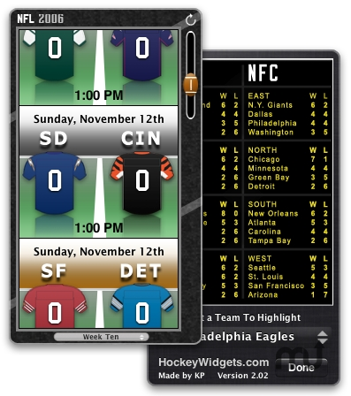 Screenshot 1 for 2006 NFL Widget