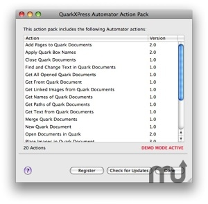 Screenshot 1 for QuarkXPress Automator Action Pack