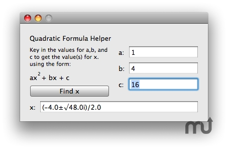 Screenshot 1 for Quadratic Formula Helper