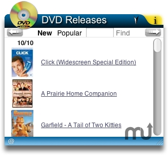 Screenshot 1 for DVD Releases Widget