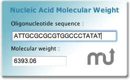 Screenshot 1 for Nucleic Acid MW widget