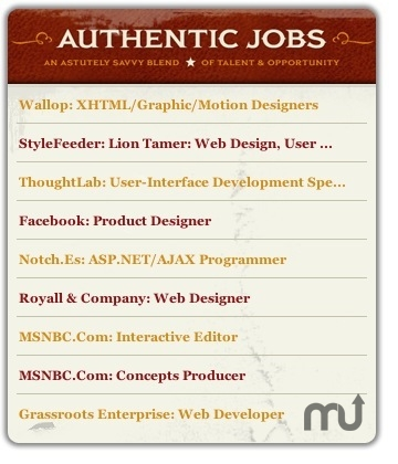 Screenshot 1 for Authentic Jobs Widget