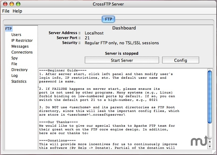 Screenshot 1 for CrossFTP Server
