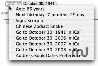 Screenshot 1 for Address Book Dates