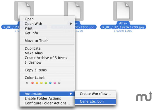 Screenshot 1 for Generate JPEG icon automator workflow