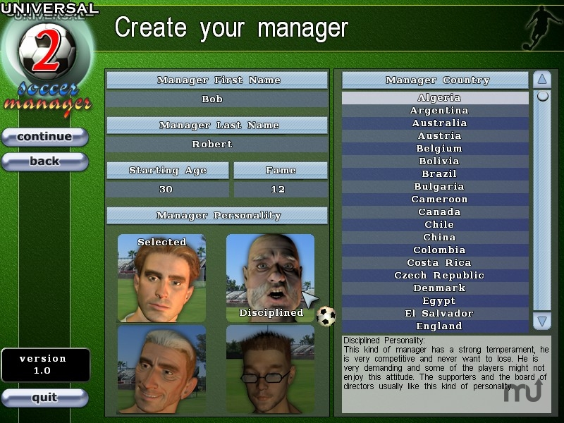 Screenshot 1 for Universal Soccer Manager 2