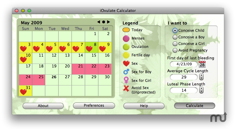 Screenshot 1 for iOvulate Calculator