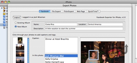 Screenshot 1 for Facebook Exporter for iPhoto