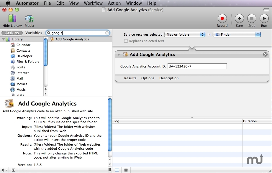 Screenshot 1 for Add Google Analytics Action