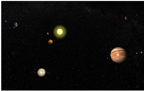 Screenshot 1 for Exaggerated Solar System Screensaver